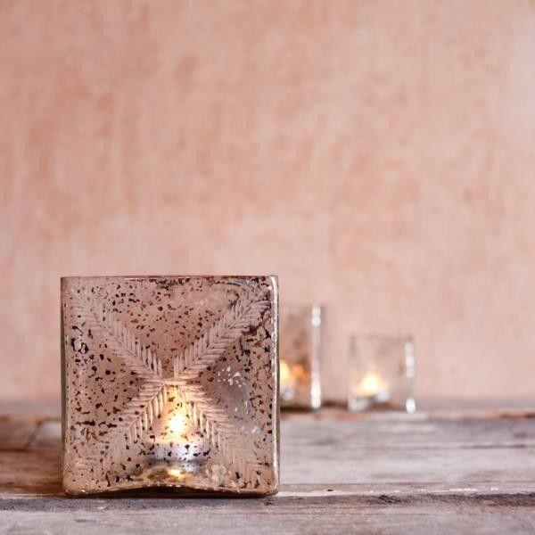 recycled glass t light holder little mill house