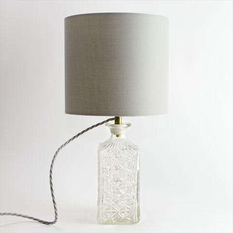 Moulded,Square,Decanter,Lamp,upcycled, recycled, vintage, antique, glass, decanter, lamp, light, handmade, quirky, unique, lighting,