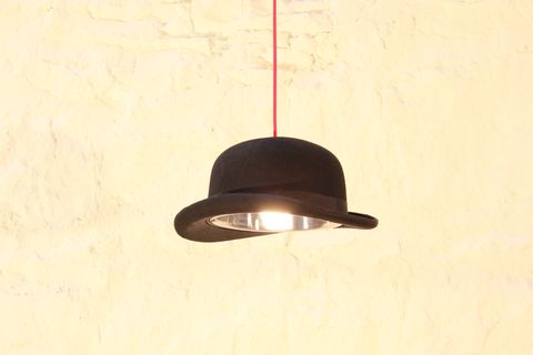 The,Charles,Bowler,Hat,Light,charles, bowler, hat, light, quirky, lighting, pendant, chandelier, red, black, cable, handmade, cool, mens,