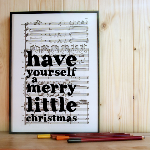 Merry,Little,Christmas,Music,Print,upcycled, recycled, vintage, christmas, quote, print, decor, decoration, music, song, gift, monochrome, black & white