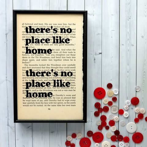 There's,No,Place,Like,Home,-,Wizard,of,Oz,Print,book, page, print, quote, framed, art, vintage, handmade, recycled, typography, monochrome, bookishly, gift, wizard of oz, theres no place like home
