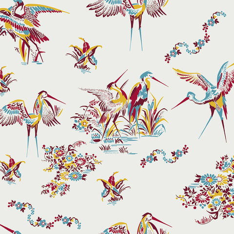 Grullas,de,Papel,Wallpaper,by,Coordonne,eco, sustainable, wallpaper, coordonne, grullas de papel, bird, flower, floral, colourful, fun, quirky