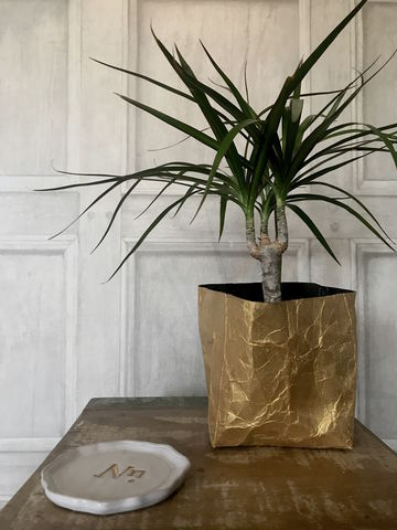 Metallic,Gold,Recycled,Basket,Planter,metallic, gold, recycled, basket, planter, indoor, paper, plants, christmas, tree, creased, homeware, upcycled