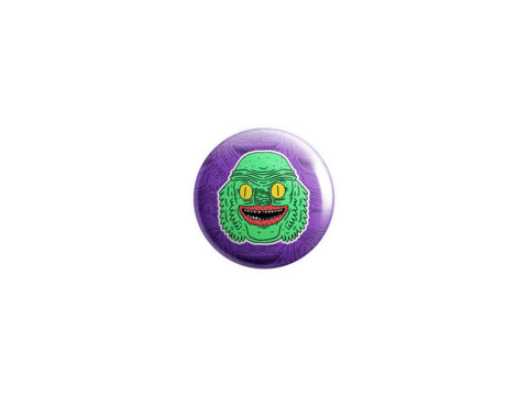 Creature,Badge,badge, pin, lowbrow, emo, design, art, illustration, wolfmask, wolfmaskart,creature from the black lagoon, horror, universal horror