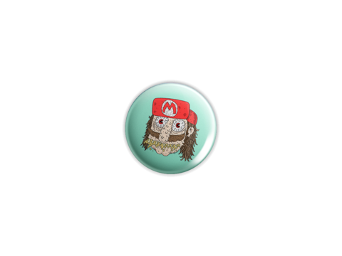 Mario,Badge,badge, pin, lowbrow, emo, design, art, illustration, wolfmask, wolfmaskart, mario, luigi, super mario, nintendo