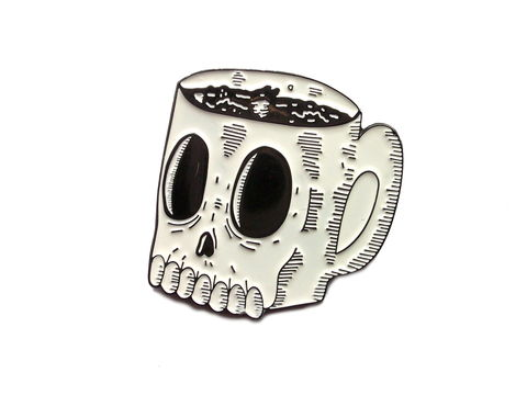 Coffee,Mug,of,Doom,Enamel,Pin,punk, emo, goth, wolfmask, wolfmaskart, art, design, illustration, lowbrow, illustrator, hand drawn