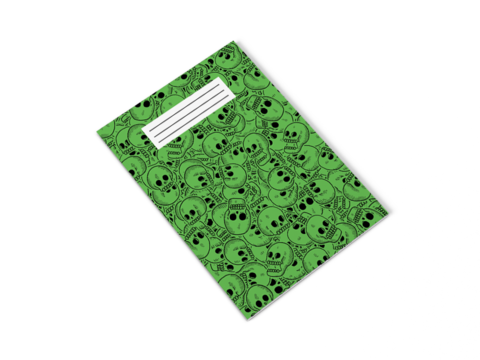 Green,Skull,Notepad,wolfmask, wolfmaskart, art, illustration, design, illustrator, designer, artist, scotland, leeds, uk