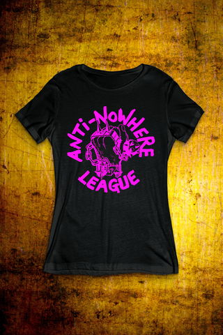 Classic,Logo,-,Pink,on,Black,T,Shirt,Ladies,T Shirt, Punk, Anti Nowhere League, Rock, Metal