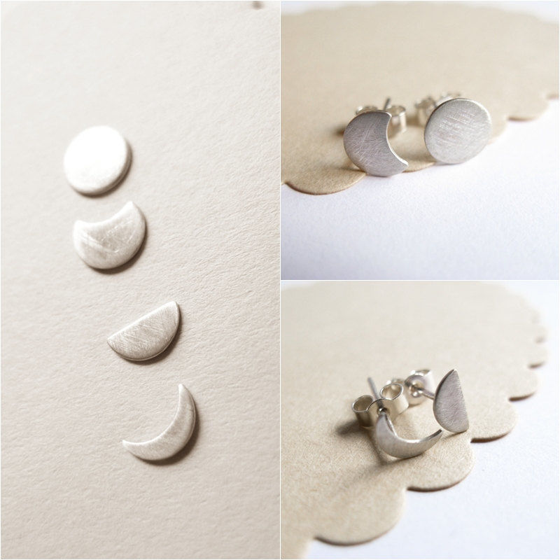 Moon Phase Silver Studs - product images  of