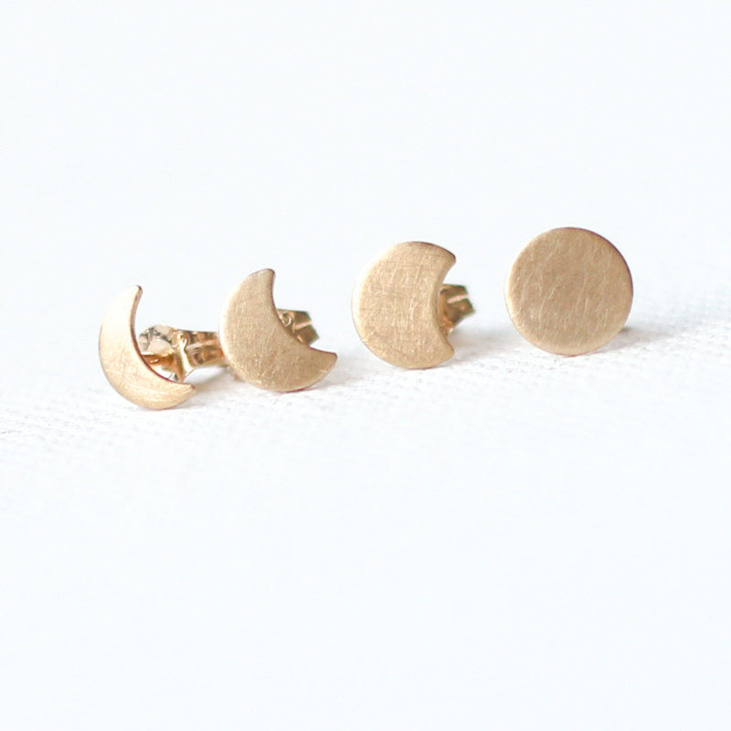 Gold Moon Phase Stud Earrings - product images  of