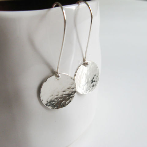 Hammered,disc,earrings,sterling silver earrings, minimalist silver earrings, handmade jewellery UK, gift for women, hammered earrings, silver dangle earrings, boho earrings