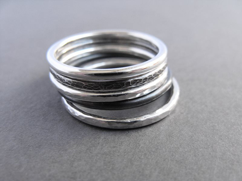 Minimalist stacking rings set of five - product images  of