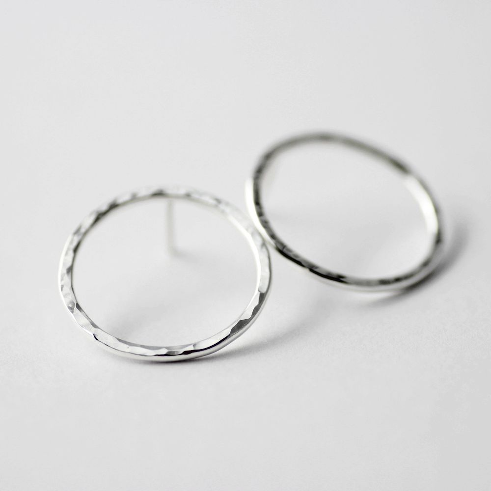Hammered Circle Sterling Stud Earrings - product images  of