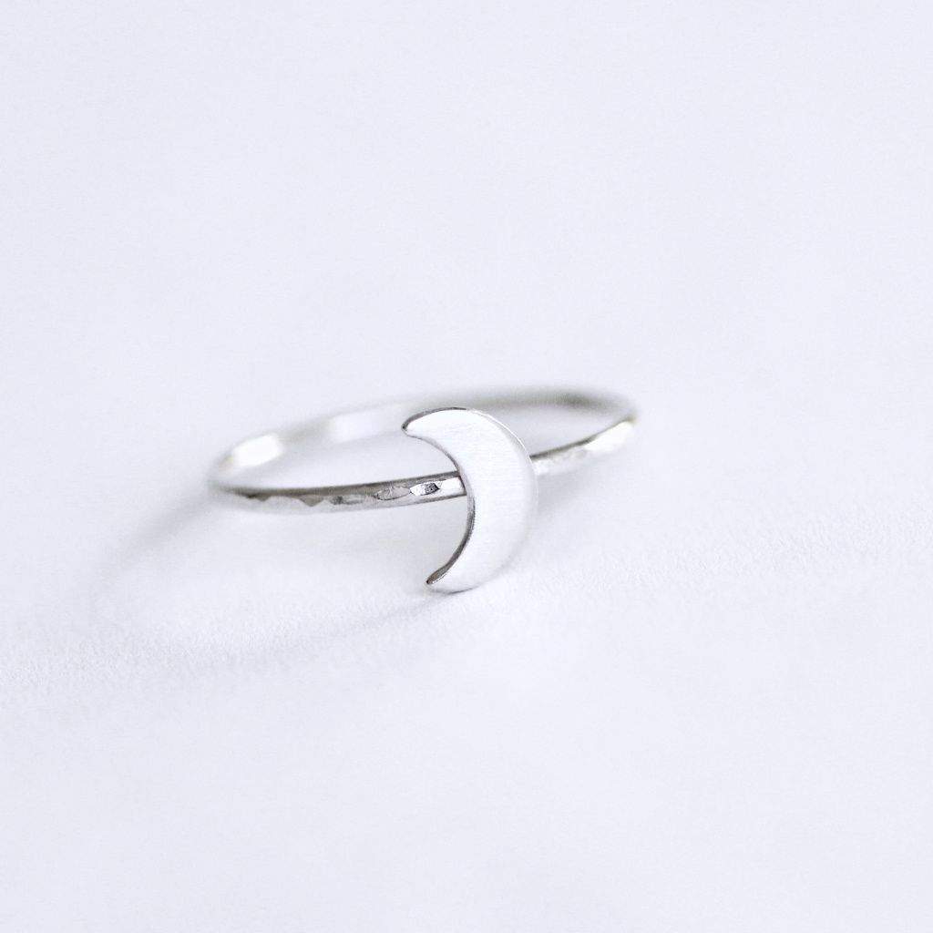 Silver Crescent Moon Ring - product images  of