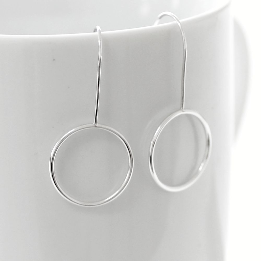 Circle Hoop Silver Earrings - product images  of