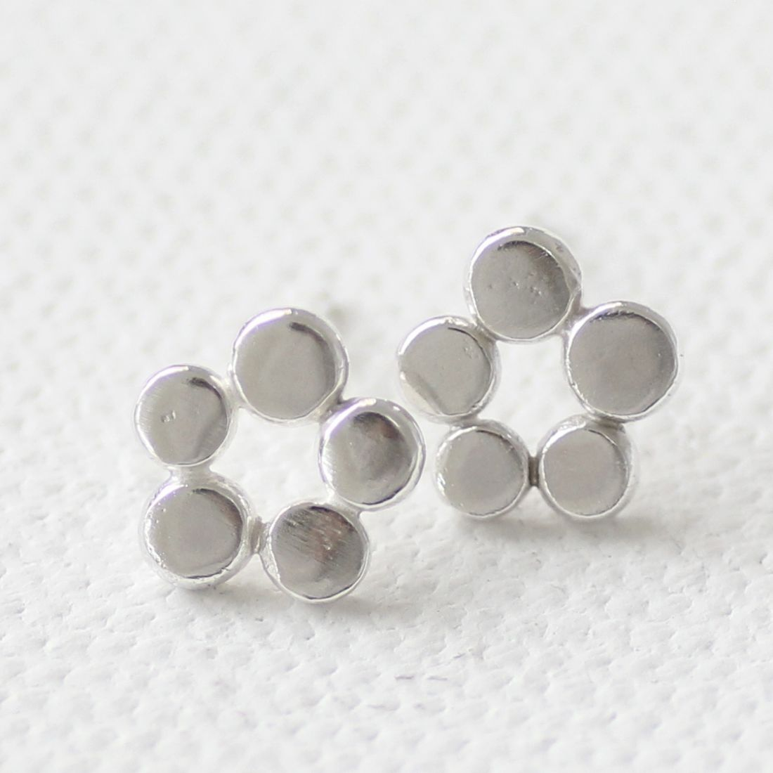 Organic Pebble Flower Silver Studs  - product images  of