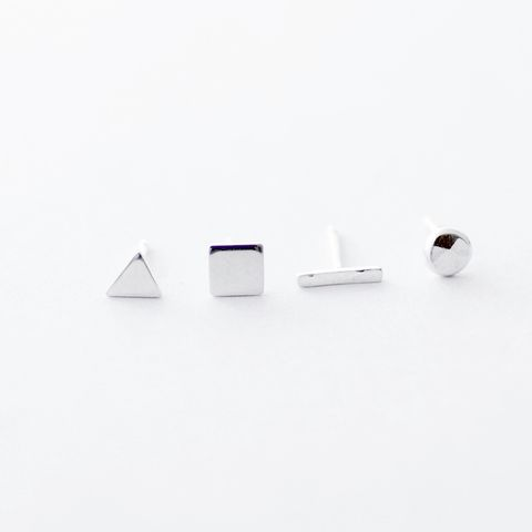 Tiny,geometric,silver,mismatched,stud,earrings,geometric silver earrings, tiny silver studs, mix and match, handmade Jewelry, minimalist silver earrings, small shape earrings, unusual earrings UK, helix earrings,unmatched pair, mismatched earrings, minimalist earrings, gift for girl
