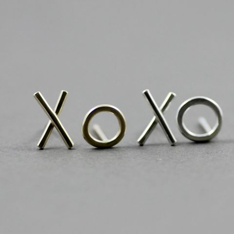 XO,sterling,silver,Studs,mix and match studs, sterling silver studs, hug and kiss earrings, ox studs, handmade in UK, unusual earrings in UK, 9ct yellow gold studs, 9ct rose gold earrings
