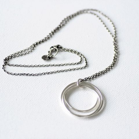 Tri-circle,sterling,silver,long,necklace,sterling silver necklace, karma necklace, silver long necklace, layered necklace, modern layer necklace, minimalist silver necklace