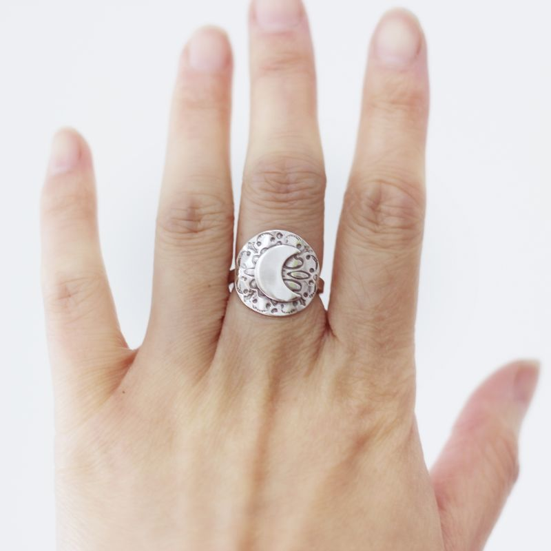 Moon Shield Silver Ring - product images  of
