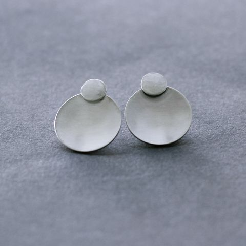 Double,Circle,Silver,Studs,moon silver earrings, circle post earrings, dome silver studs, minimalist silver earrings, organic silver earrings, handmade in UK, sterling silver earrings