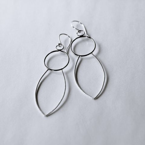 Circle,and,Leaf,Sterling,Silver,Earrings,sculptural earrings ,petal silver earrings, long silver earrings, unique design, leaf silver hoops, statement silver earrings, organic silver earrings, handmade in UK, sterling silver earrings