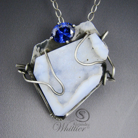 Blue,Lace,Agate,Drusy,Pendant.,Jewelry,blue_lace_agate,druzzy,sterling_silver,handmade,handcrafted,wire_set,unique,gift,blue_pendant,statement_pendant,designer_pendant,exclusive_designs,lab_tanzanite,blue lace agate,lab tanzanite,sterling silver