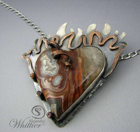 Sagrado,Corazon,Heart,Necklace.,Jewelry,Silversmithing,sterling_silver,pendant,handmade,handcrafted,custom_made,necklace,statement_pendant,heart_pendant,sagrado_corazon,sacred_heart,agate,crazy_lace_agate,crazy lace agate,sterling silver,copper