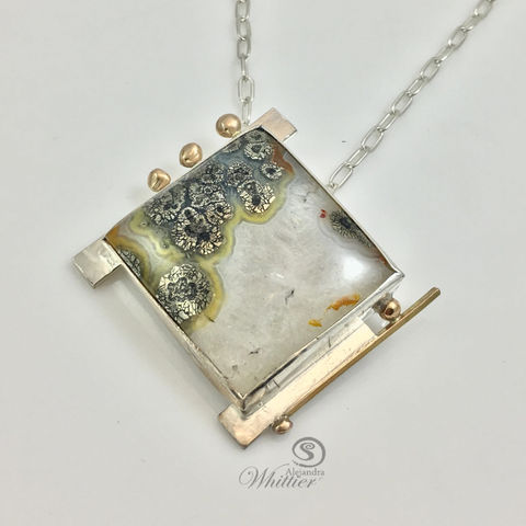 Nipomo,Marcasite,Pendant.,Jewelry,Necklace,square_pendant,silver_and_gold,marcasite,statement_pendant,statement_necklace,gifts_for_her,christmas_gifts,unique_gifts,contemporary,handmade_necklace,silversmithing,custom_made,mixed_metals,Nipomo Marcasite,Sterling Silver,Gold Filled,B