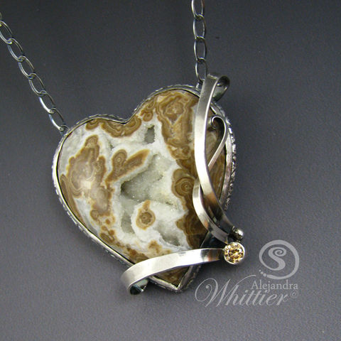 Wyoming,blizzard,heart,pendant.,Jewelry,Necklace,wyoming_blizzard,druzzy_heart,heart_necklace,heart_pendant,elegant_necklace,designer_jewelry,handmade,handcrafted,sterling_silver,wyoming blizzard stone,cubic zirconia,sterling silver