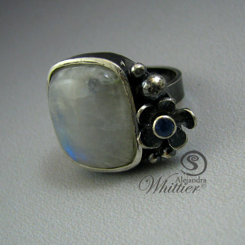 Moonstone,and,sapphire,flower,ring.,Jewelry,Ring,natural_stone_ring,flower_ring,moonstone_ring,white_ring,sterling_flower_ring,sapphire_ring,sapphire_flower,handmade_ring,handcrafted_ring,handmade_jewelry,gifts_for_her,christmas_gifts,mother's_day_gift,natural moonstone,blue sapphire,sterli