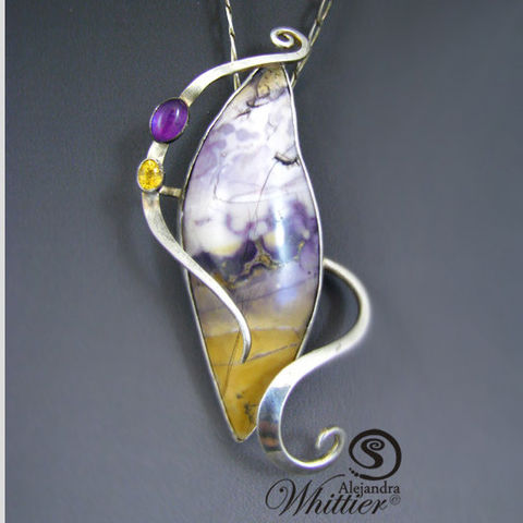 Tiffany,Stone,sterling,silver,pendant.,Jewelry,Necklace,tiffany_stone,natural_stone,purple_pendant,amethyst,citrine,sterling_silver,handmade,handcrafted,purple_stone,purple_and_yellow,purple_necklace,tiffany stone,sterling silver,natural amethyst cab,natural faceted citrine