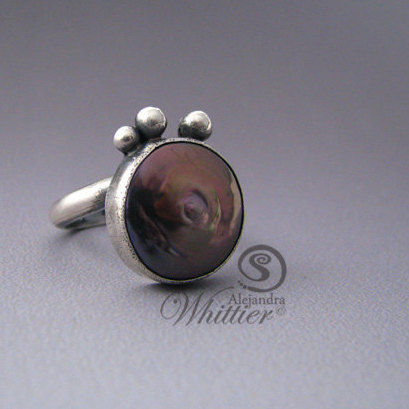 Fresh,water,coin,pearl,adjustable,ring.,Jewelry,Ring,pearl_ring,fresh_water_pearl,coin_ring,purple_ring,sterling_ring,ring,custom_made,handmade,handcrafted,statement_ring,cocktail_ring,fresh water coin pearl,sterling silver