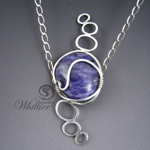 Chaorite,and,Sterling,Silver,Pendant.,Jewelry,Necklace,chaorite,chaorite_necklace,purple_necklace,purple_pendant,modern_pendant,sterling_pendant,purple_and_sterling,handmade,handcrafted,modern_wire_wrap,chaorite doublet,argentium silver wire,sterling silver chain