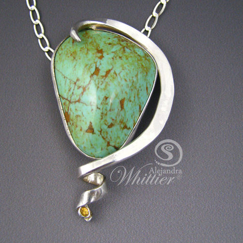 Turquoise,and,Yellow,Sapphire,Pendant.,Jewelry,Necklace,turquoise,green_turquoise,sterling_silver,yellow_sapphire,sapphire,turquoise_necklace,handmade,handcrafted,turquoise_pendant,green turquoise,sterling silver,yellow sapphire