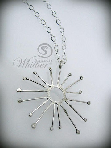 Sunburst,Sterling,Silver,Necklace.,Jewelry,Necklace,sterling,handmade,wirework,metalwork,handcrafted,abstrct,necklace,gift,sterling silver