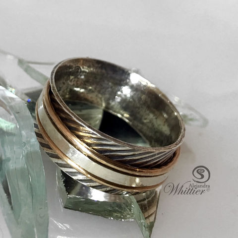 Spinner,Ring,-,Diagonal,Lines/Rose,Gold,Filled,spinner_ring, meditating_ring, sterling_rig, handmade_ring, sterling_and_gold_ring, metal-smith.