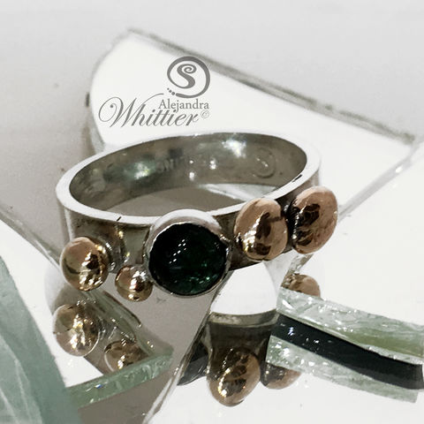 Tourmalie,Brass,and,Sterling,Ring,Jewelry,ring,sterling_ring,mixed_metal_ring,cocktail_ring, handmade_rig, silversmithing, tourmaline_ring