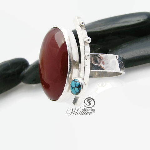 Carnelian,and,turquoise,ring,carnelian ring, turquoise ring, sterling ring, handmade ring