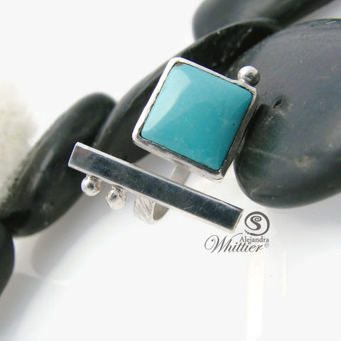 Turquoise,and,bar,ring,turquoise ring, handmade ring, sterling silver ring, sterling ring