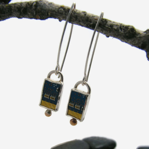 Recycled,motherboard,earrings,recycled jewelry, recycled earrings, recycled computer motherboard, sterling recycled earrings