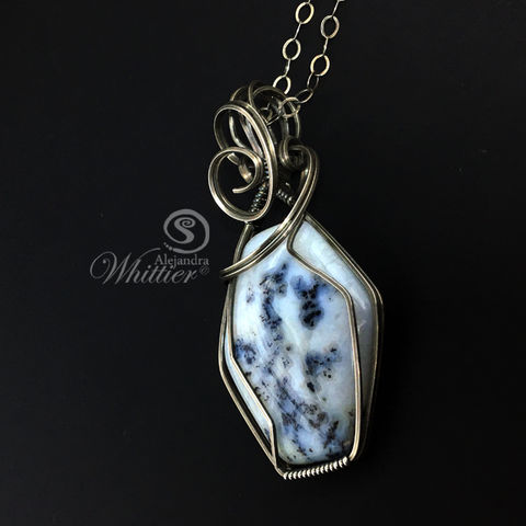 Dendritic,Agate,Wire,Wrapped,Pendant,wire wrapped necklace, agate pendant,  handmade necklace
