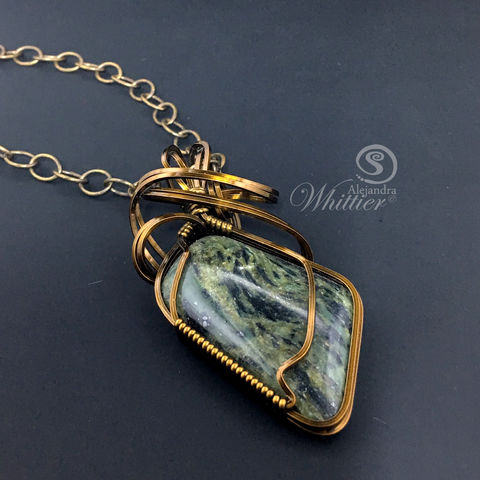 Green,Variegated,Jasper,Wire,Wrapped,Pendant,wire wrapped necklace, jasper pendant,  handmade necklace
