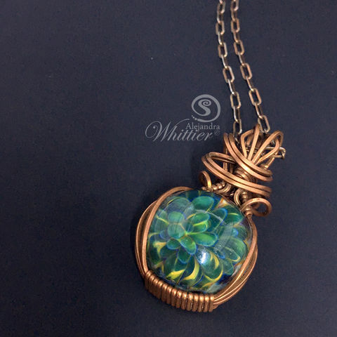 Lampwork,Flower,Wire,Wrapped,Pendant,wire wrapped necklace, flower pendant,  handmade necklace