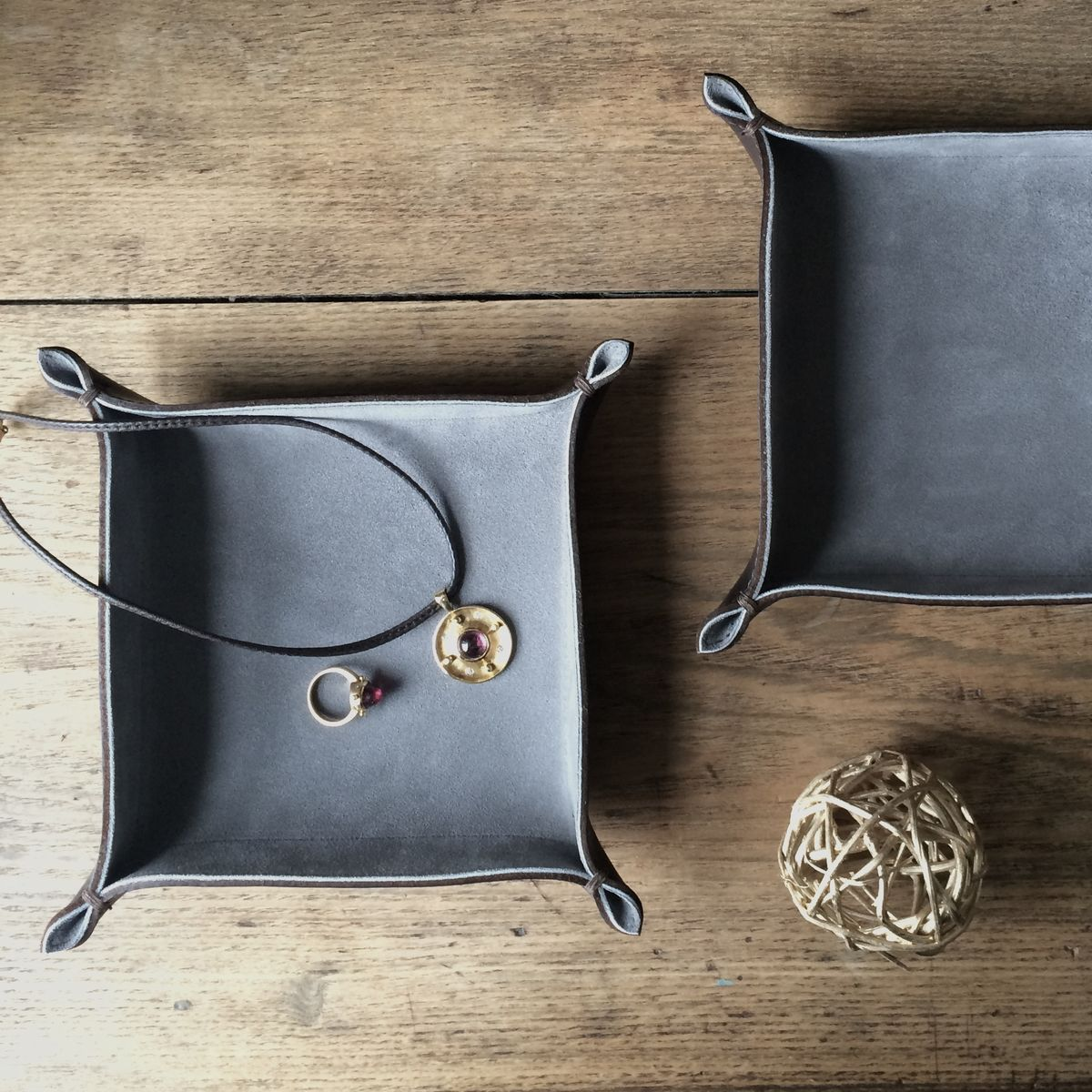 Leather and suede tray - large - product images  of