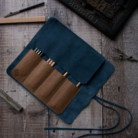 Suede,and,leather,pencil,roll,suede pencil roll, suede brush roll, suede tool roll, tool roll, brush roll, pencil roll