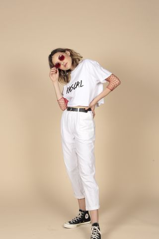White,Rascal,Tee, Tshirt, Cropped, White, Cotton