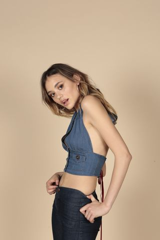 Denim,Halter, Corset, Halter Neck, Chambray