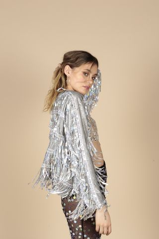 Sequin,Fringe,Jacket,Sequin Fringe Jacket, Silver, Festival, Summer, Party
