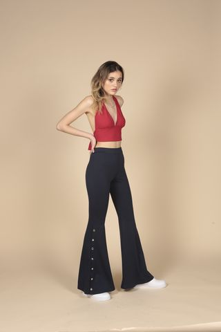 Popper,Flares, Poppers, High Waisted, Navy, Stretch